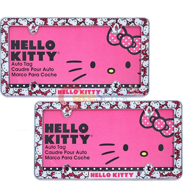 Sanrio Hello Kitty  Car License Plate Frame 2pc  Auto Accessories Face All Over  #Sanrio