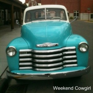 Every cowgirl needs a vintage truck. C should I paint my truck turquoise??? Love it.