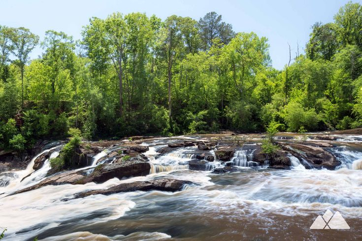 Hike the Falls Trail at High Falls State Park near Macon, hiking a double loop to views of the enormous, thundering High Falls waterfalls.