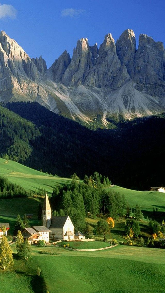 Val Di Funes Dolomites Italy iPhone 5 wallpapers, backgrounds, 640 x 1136