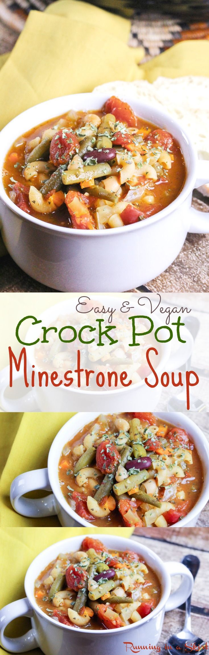 Easy & Vegetarian Crock Pot Minestrone Soup recipe! Healthy, vegetable…