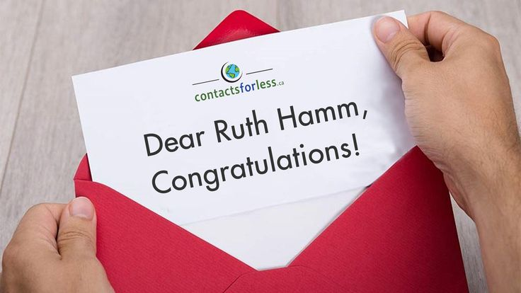 We have a #winner for our $500 #contest:  Ruth Hamm!  Want to #win $500 as well?  Join our quarterly contest with just a few clicks, no purchase required!  Next drawing: April 1, 2018  www.contactsforless.ca/CONTEST  #giveaway #cash #free #prize