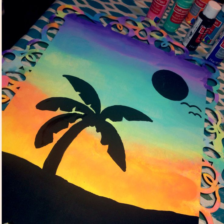 Tropical palm tree beach canvas painting DIY