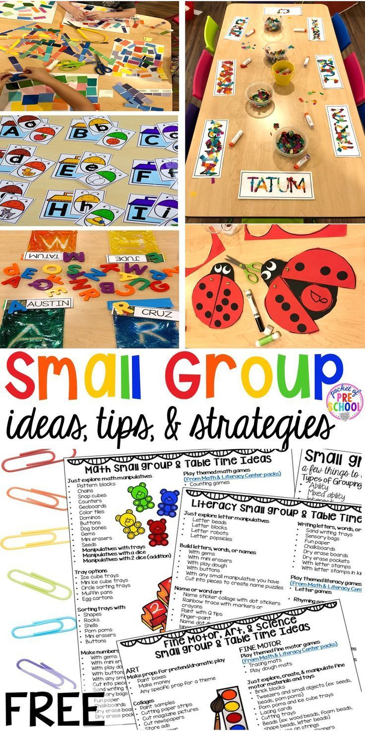 All About Small Group Time – FREE Printable Idea L…