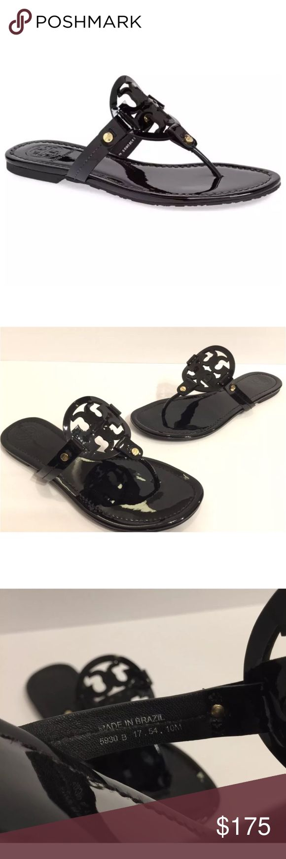 Tory Burch 'Miller' Flip Flop Black Patent A breezy, cleanly styled flip-flop features a bold logo cutout across the instep. A foam-cushioned footbed makes it a comfortable choice for long summertime days. Leather or synthetic upper/leather lining/rubber sole. By Tory Burch; made in Brazil. Salon Shoes. Excellent Condition, Celebrity Favorite! A must have Classy style. Please Check All Pictures, I will be more than happy to answer any Questions. Unfortunately No Box or Dust bag Tory Burch…