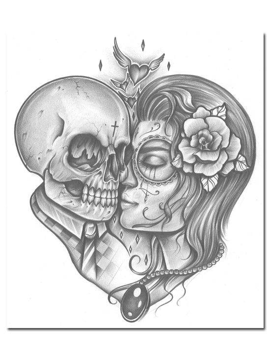 25 best ideas about skull couple tattoo on pinterest for Skull love tattoos