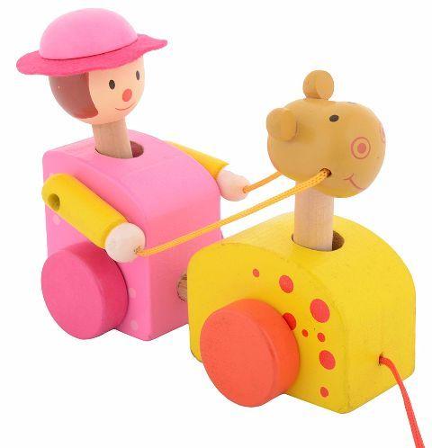 Utsav Kraft Etikoppaka A Girl with Camel Pull Along Toy Yellow