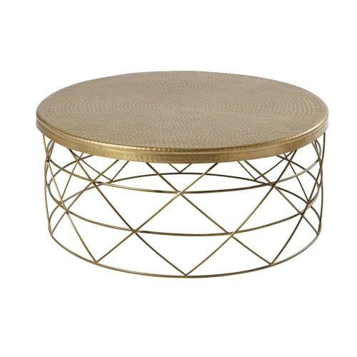 Table Basse En Aluminium Et Metal Dore Zirka Maisons Du Monde Table Basse Tables Basses Dorees Table Basse Rotin