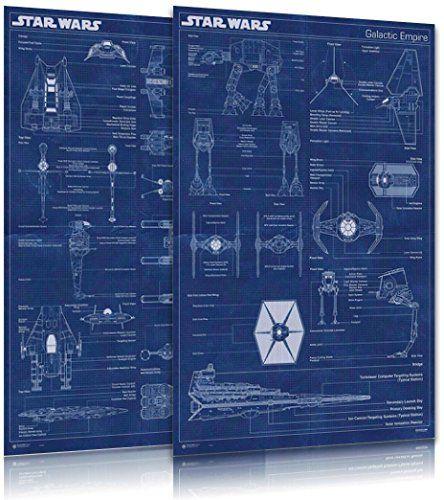 Star wars movie poster set imperial fleet for Blueprint size prints