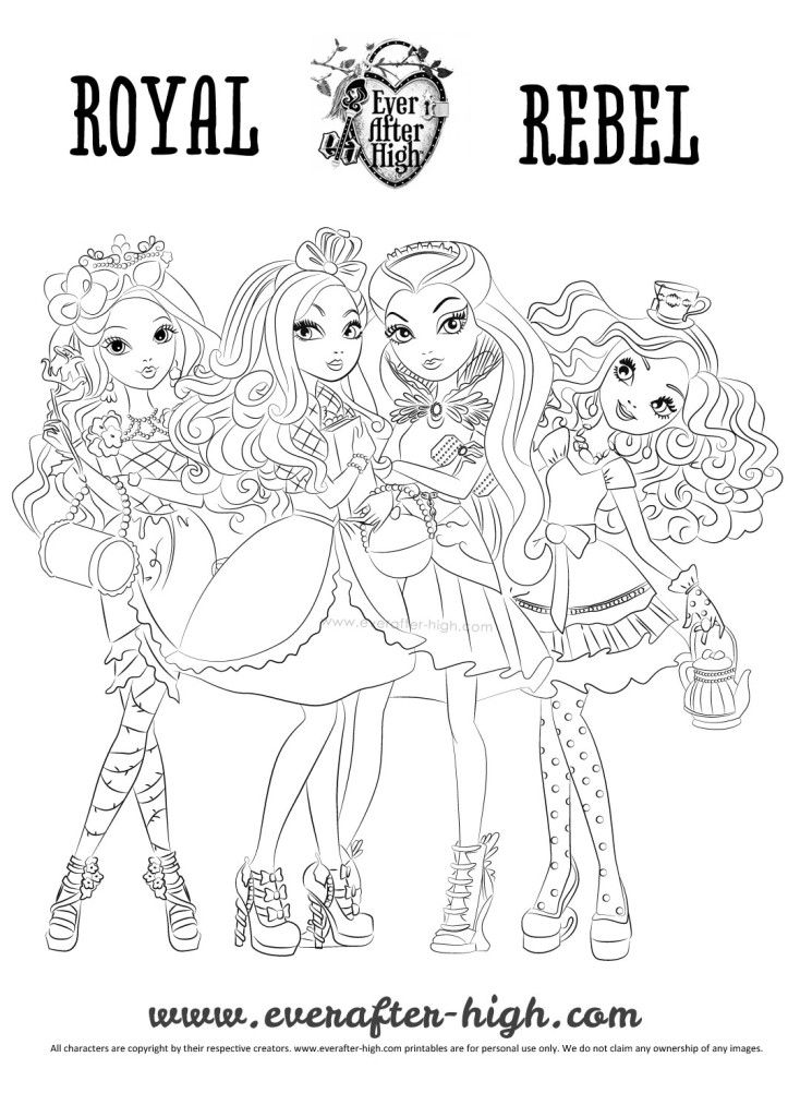Ever After High girls coloring page