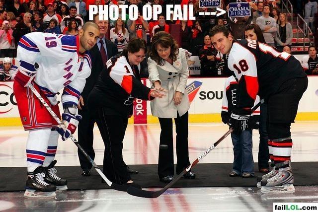 Sarah Palin performing the ceremonial puck drop