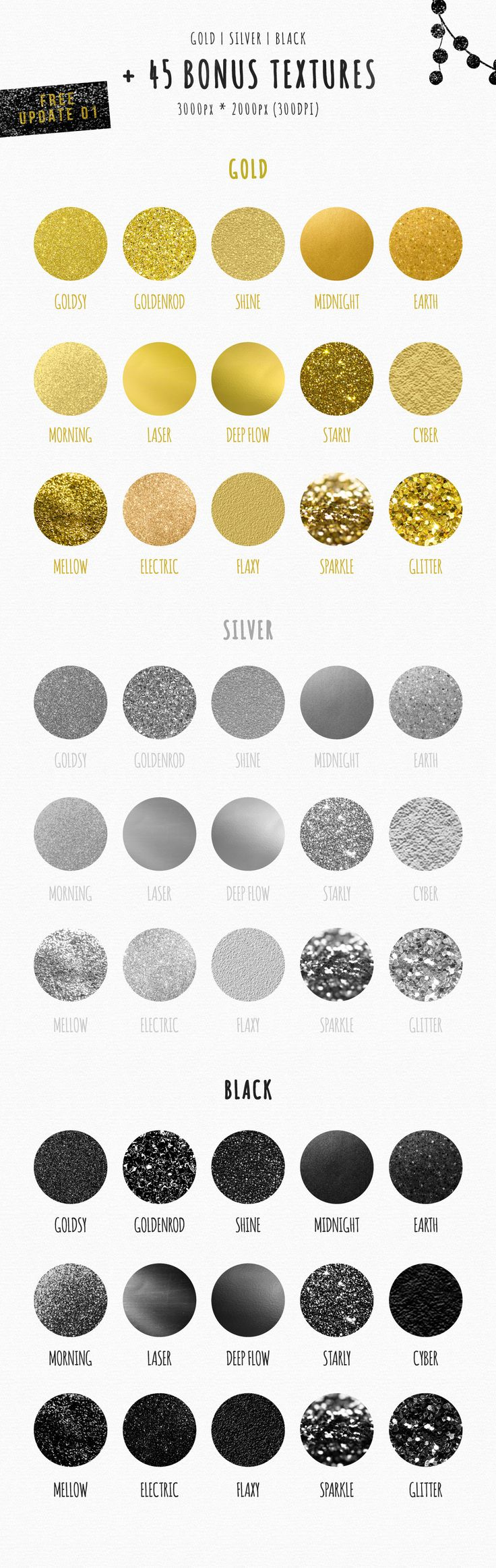 Feminine Logo Creator Circle Edition: gold foil, glitter textures, silver and black