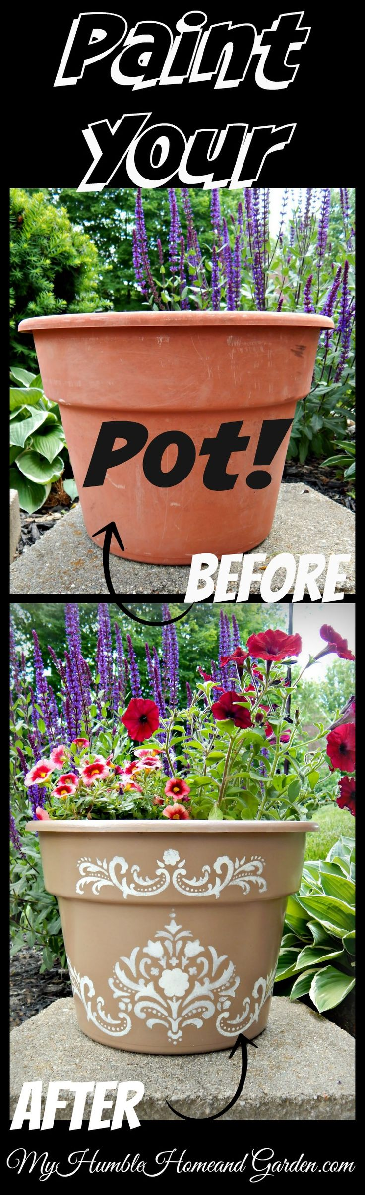 Beautify your cheap plastic pots with paint and stencils! on MyHumbleHomeandGarden.com
