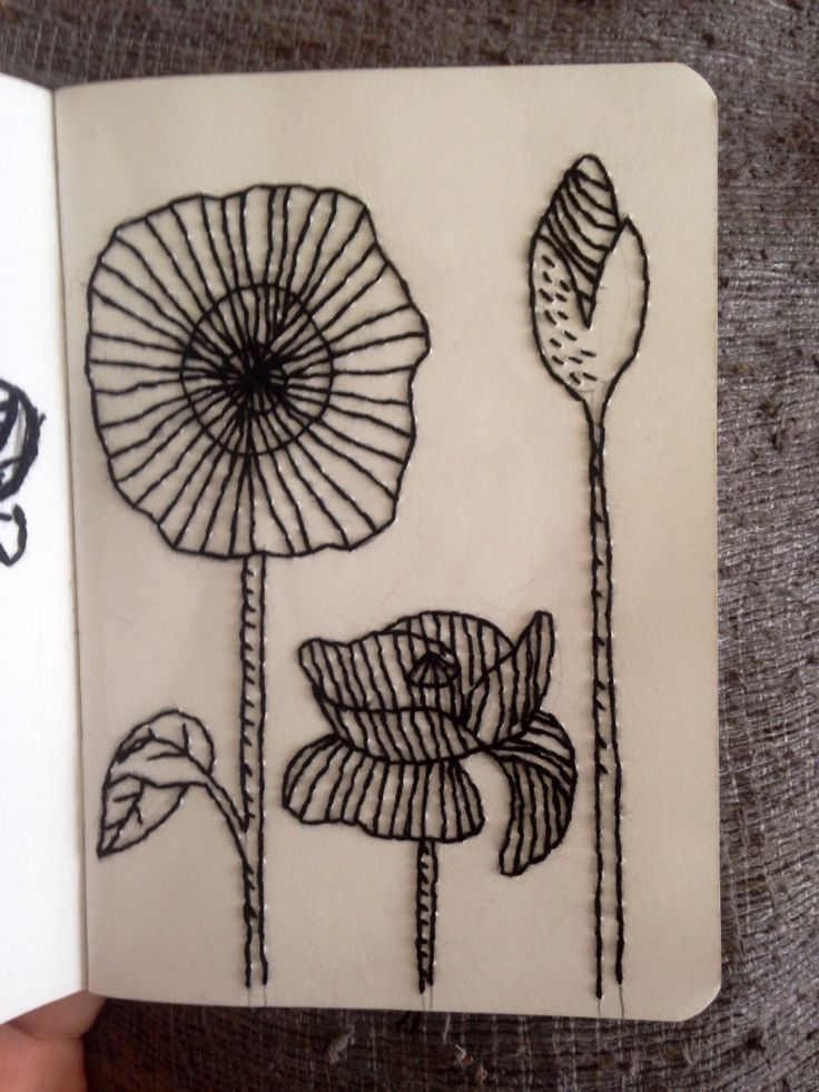 Poppy flowers hand embroidered on paper