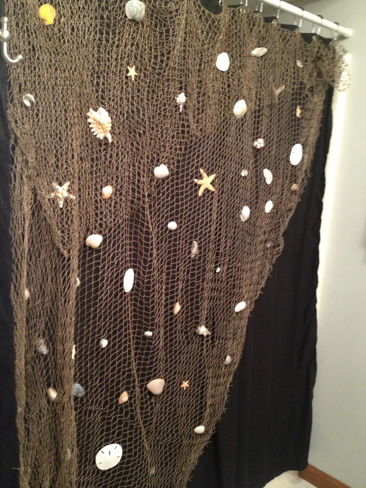 Fishing Net Shells Shower Curtain Beach Bathroom Ideas