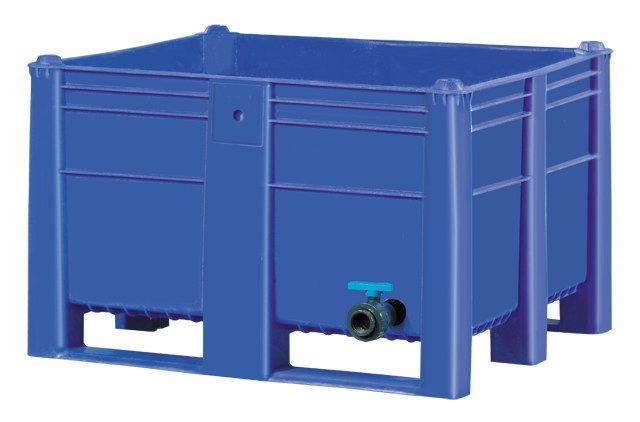 ISO Plastik Box Padat Pallet (pallecon, container besar); sebuah massal HDPE wadah menengah dengan katup drainase untuk cairan, makanan, daging, air, ayam dan bahan kimia