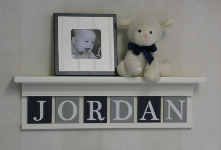 """Navy and Grey Nursery Mantle Name Shelves - Personalized for Baby JORDAN 24"""" Linen (Off White) Shelf with 6 Gray and Navy Blue Wall Letters by NelsonsGifts on Etsy https://www.etsy.com/listing/198283968/navy-and-grey-nursery-mantle-name"""