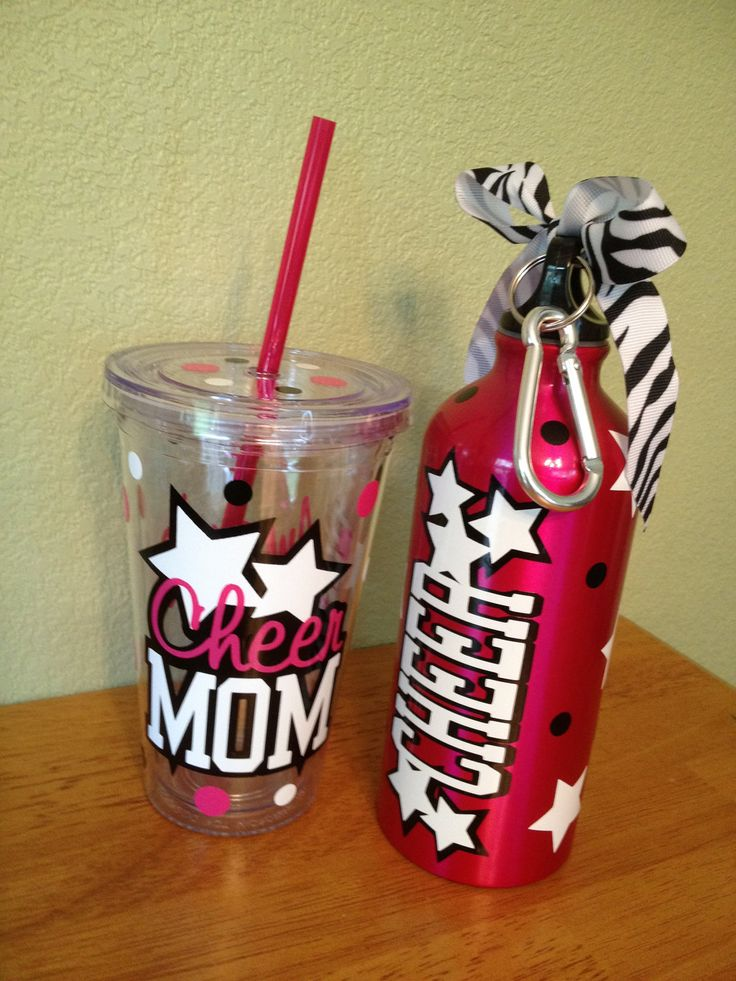 Personalized aluminum water bottle, LOTS of colors, designs available, polka dots, stars, CHEER, any sport or custom design. $12.00, via Etsy.