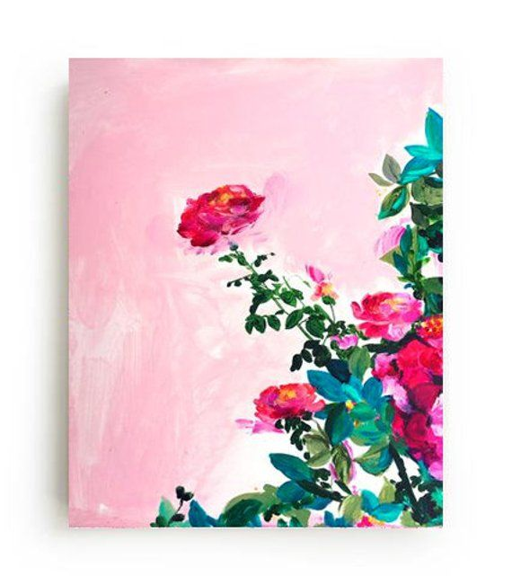 Rose Garden Canvas Print Large Wall Art Bright Home Decor Etsy Floral Painting Floral Wall Art Large Canvas Art Diy