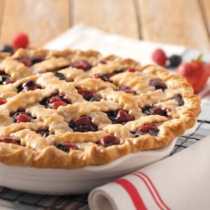 Ozark Mountain Berry Pie!!  My friend makes this using the frozen mixed berries from Costco!!  Delicious...but I think the calorie content is LIE!!!  It can't be that many calories...it's mostly fruit...right???
