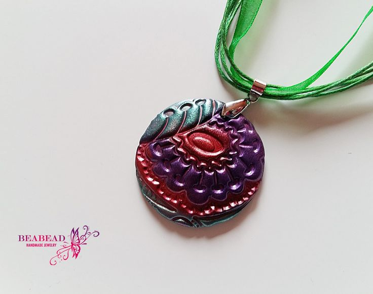 Polymer clay pendant, Polymer clay jewelry, polymer clay necklace, handmade jewelry with flower pattern by Beabead on Etsy