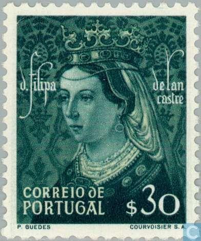 """Portugal [PRT] - Dynasty of Aviz 1949 - Filipa de Lencastre, (Português: Filipa de Lencastre, 31 de março de 1360 - 19 de julho de 1415) foi uma rainha consorte de Portugal. Nascido na família real da Inglaterra, seu casamento com 1387 D. João I de Portugal garantiu a Aliança Anglo-Português (1373-1386) e produziu várias crianças que se tornaram conhecidos como a """"Ilustre Generation"""" em Portugal."""