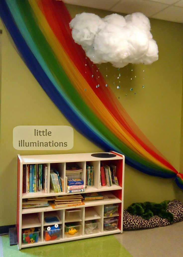Rainbow chiffon drapes and cotton wool clouds book corner