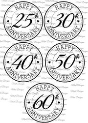 Happy Anniversary circle digi stamps  25th  30th  40th  50th  60th on Craftsuprint - View Now!