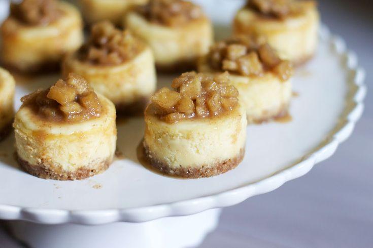 Mini White Chocolate Cheesecakes with Apple Cinnamon Compote