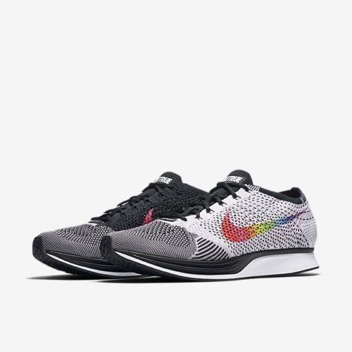 4a0bbb355b0 Nike Flyknit Racer Be True Running Shoes Mens 12.5 White Black Multi 902366  100  Nike  RunningShoes