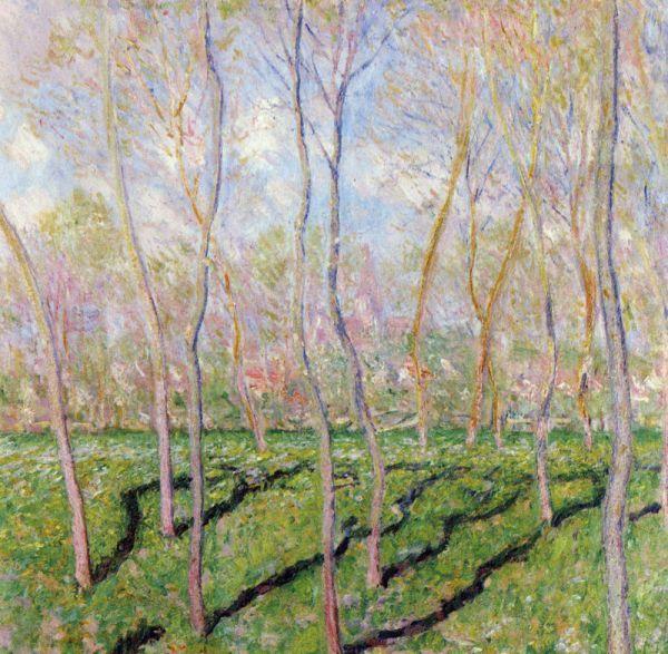 Reproduction de Monet, Arbres en hiver a Bennecourt. Tableau peint à la main dans nos ateliers. Peinture à l'huile sur toile.