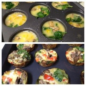 Eggs, mushrooms, bell peppers, and spinach baked naked in a muffin tin. [Made this in a silicone muffin pan. Slightly over whipping makes the egg light an fluffy. It rises over the pan surface similar to a quiche. Surprisingly yummy.]
