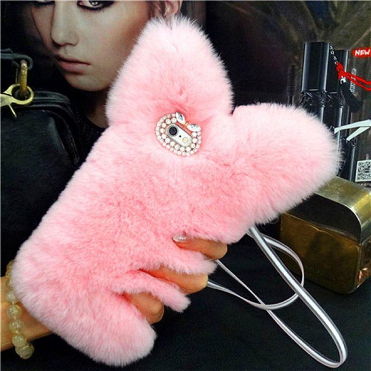 Cute Cat Ears Fluffy Rabbit Fur Case for iPhone 6 Plus / 6S Plus 5.5 inch