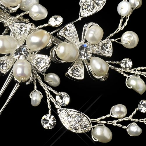 Silver Freshwater Pearl & Rhinestone Floral Hair Comb 9862