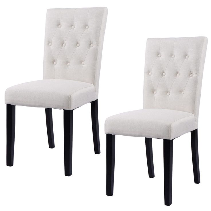 Costway Set Of 2 Fabric Dining Chair Armless Chair Home Kitchen Living Room  Furniture, Beige Part 67