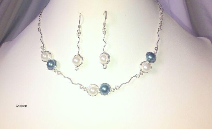 Parure Mariage 2 pièces perles de culture et nacre de Majorque, turquoise et blanc
