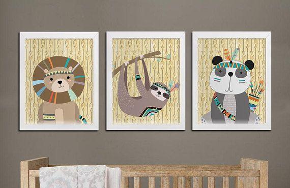 Nursery tribal printable set wall art baby room lion sloth