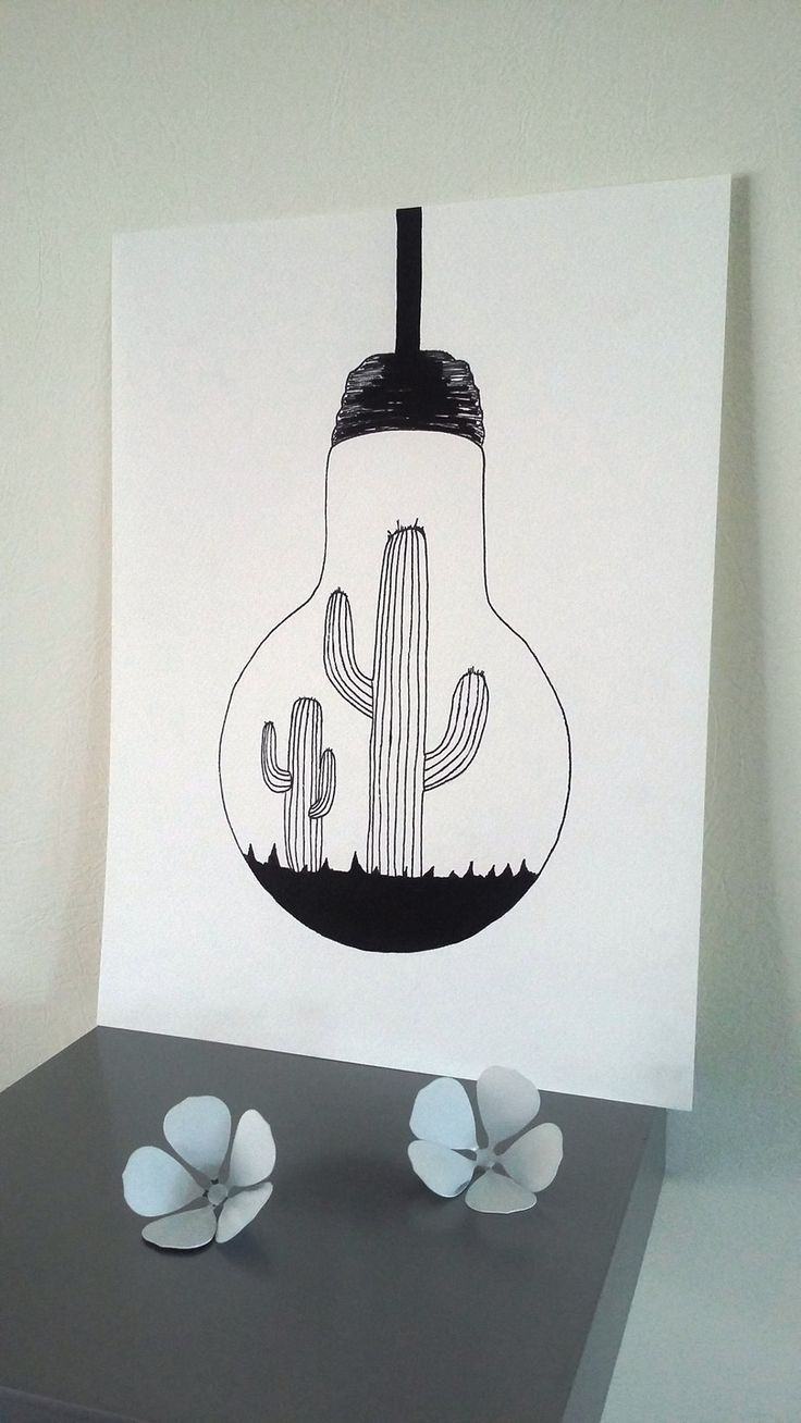 Affiche Illustration Noir Et Blanc Ampoule Cactus Drawing Easy