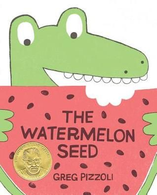 """The Water Seed"", by Greg Pizzoli.   After swallowing a watermelon seed, a crocodile imagines a scary outcome.  Theodor Seuss Geisel Award winner, 2014."