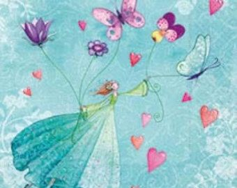 Fairy, Decoupage Napkins, hearts, buterflies, blue, Decoupage, Mixed Media, Scrapbooking, Collage, butterfly, children, 4 pcs