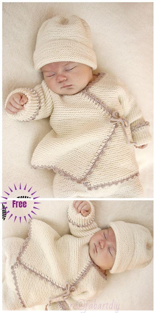 Easy Garter Stitch Sideways Baby Cardigan Free Knitting Patterns – Necibe Kınık