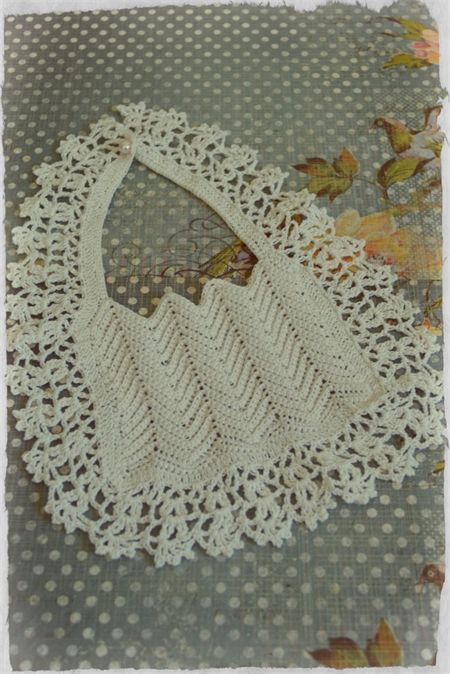 HEIRLOOM Crochet Baby Bib - Christening/Baptism Bib - Baby Shower Gift: