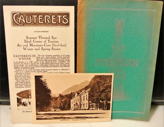 THE PYRENEAN SPAS Including THE HEALTH RESORTS OF THE PYRENEES by Professor PAUL CARNOT, CAUTERETS Postcard, CAUTERETS HOTEL D'ANGLETERRE Brochure. All c1930 with sepia tone photo illustrations.
