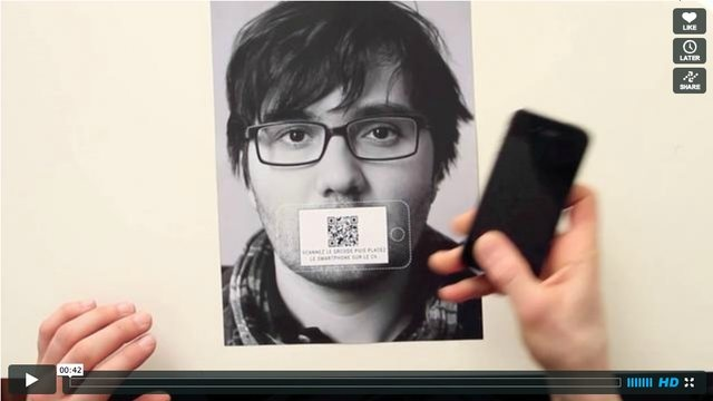 A better use of the QR code, rather than plonking it on a design as an after thought.  http://vimeo.com/21228618