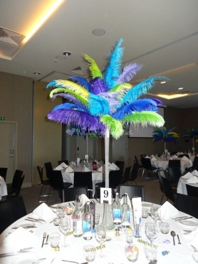 Mardi Gras Theme Table Centrepieces