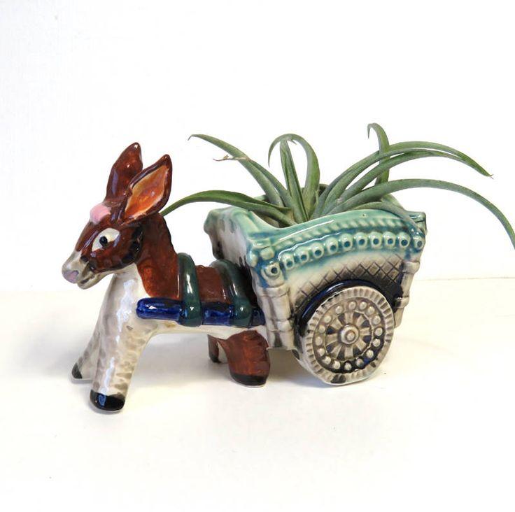 Donkey Cart Vintage Pottery Planter Cute Southwest Decor