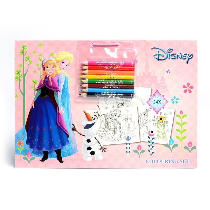 Maak de mooiste platen van Disney Frozen met dit kleurblok met kleurpotloden. Kleur de 24 prachtige kleurplaten van je favoriete ijsprinsessen in, haal ze eenvoudig uit het blok en decoreer je kamer met de kunstwerken. Inclusief 8 kleurpotloden. Afmeting:verpakking 29 x 21 cm. - Disney Frozen Kleurblok met 8 Kleurpotloden