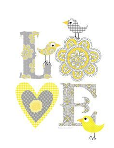 Kids Wall Art-Gray -Yellow Love print- Art Decor