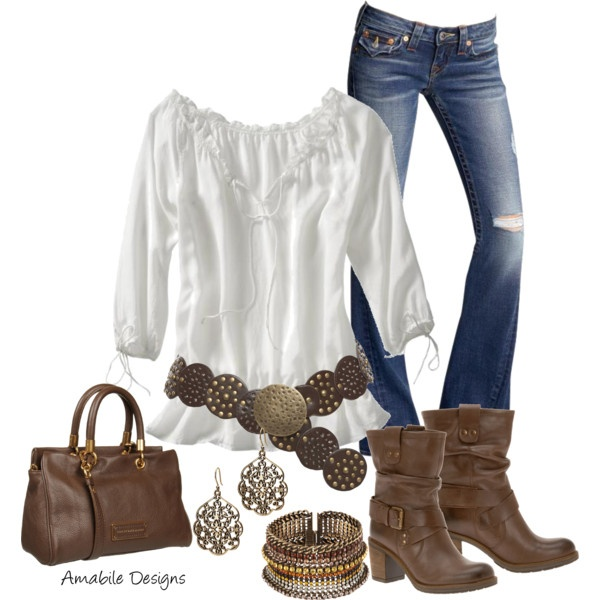 Boho chic. Worn out boot-cut jeans with a gathered white blouse with 3/4 sleeves & draped at hips a studded leather & buckle belt. Brown short, slouched boots & brown bag with scroll-work dangle copper metal earrings & multi-finish & texture large cuff bracelet. Found on Polyvore.