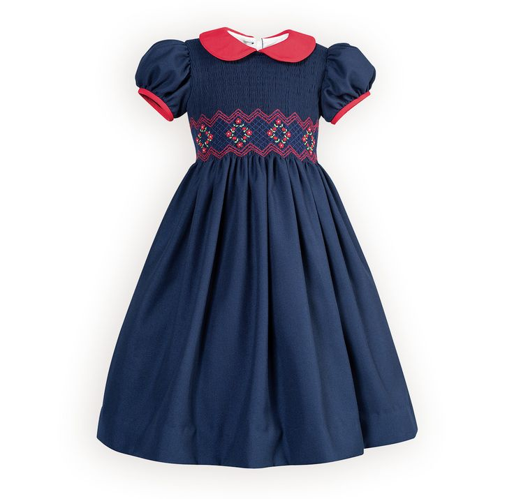Picture Perfect in Navy Girl's Hand-Smocked Dress